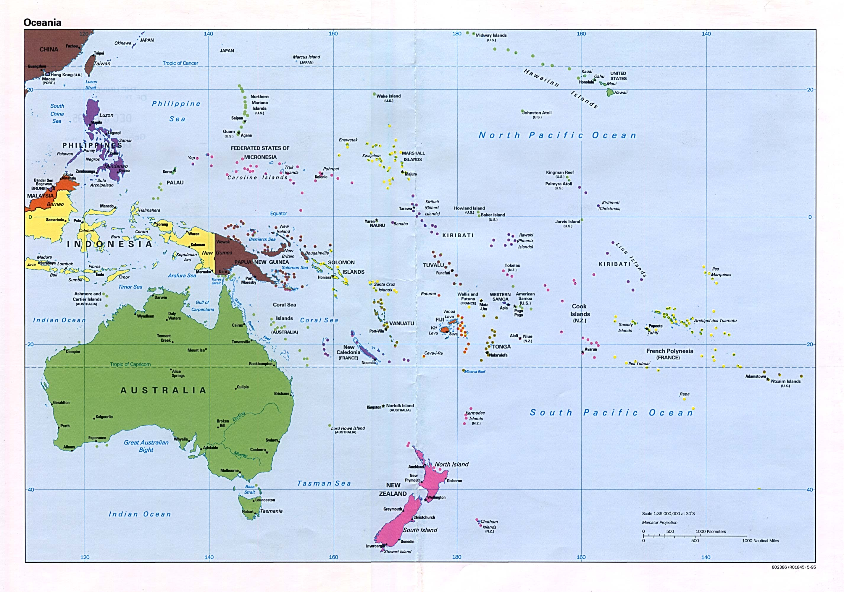 Pacific Ocean - Us pacific islands map